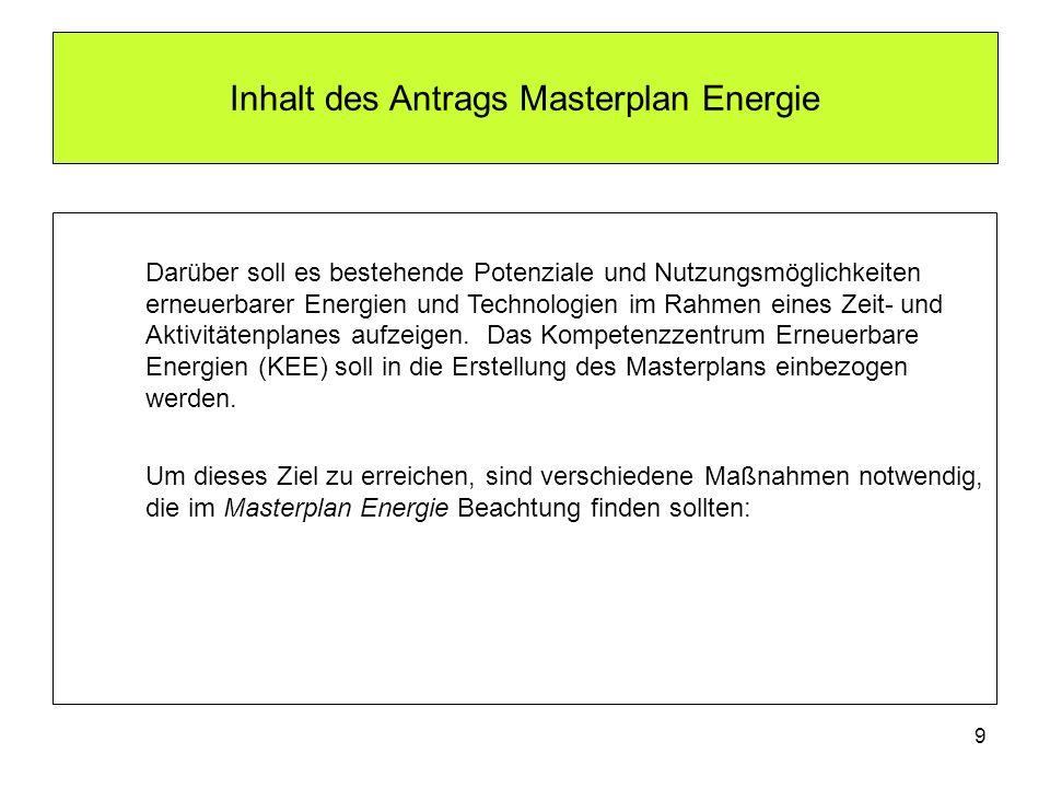 9 Inhalt des Antrags Masterplan Energie Darüber soll es bestehende Potenziale und Nutzungsmöglichkeiten erneuerbarer Energien und Technologien im Rahm