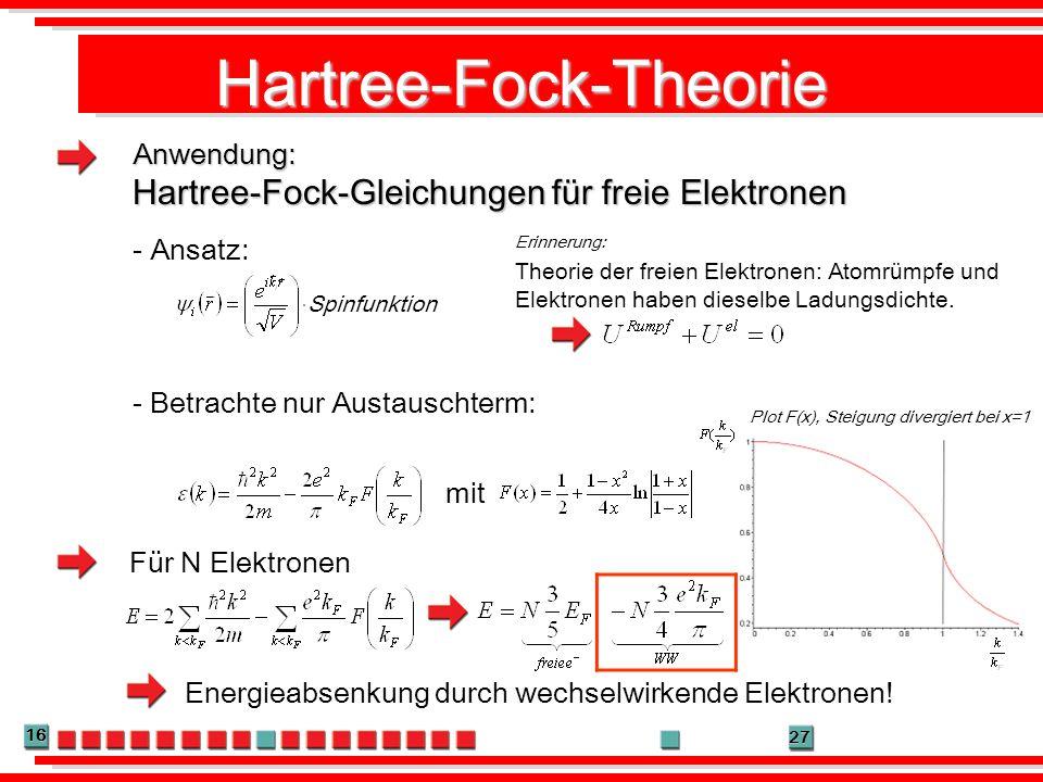 16 27 Hartree-Fock-Theorie Anwendung: Hartree-Fock-Gleichungen für freie Elektronen Theorie der freien Elektronen: Atomrümpfe und Elektronen haben die