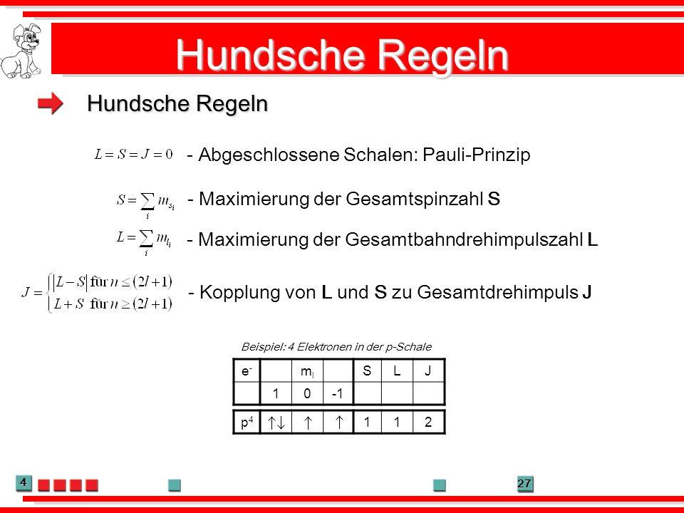 4 27 Hundsche Regeln - Maximierung der Gesamtspinzahl S - Maximierung der Gesamtbahndrehimpulszahl L - Kopplung von L und S zu Gesamtdrehimpuls J - Ab
