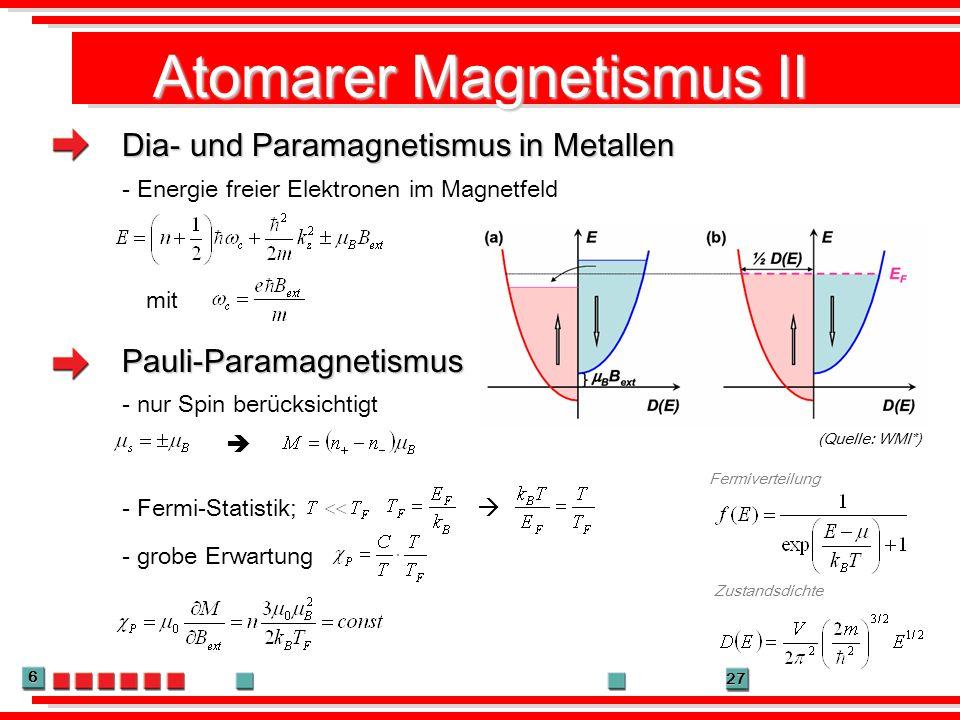 6 27 Atomarer Magnetismus II Dia- und Paramagnetismus in Metallen Pauli-Paramagnetismus (Quelle: WMI*) Fermiverteilung - Energie freier Elektronen im