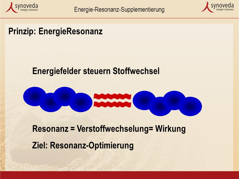 Energie-Resonanz-Supplementierung Prinzip: EnergieResonanz Resonanz = Verstoffwechselung= Wirkung Ziel: Resonanz-Optimierung Energiefelder steuern Stoffwechsel
