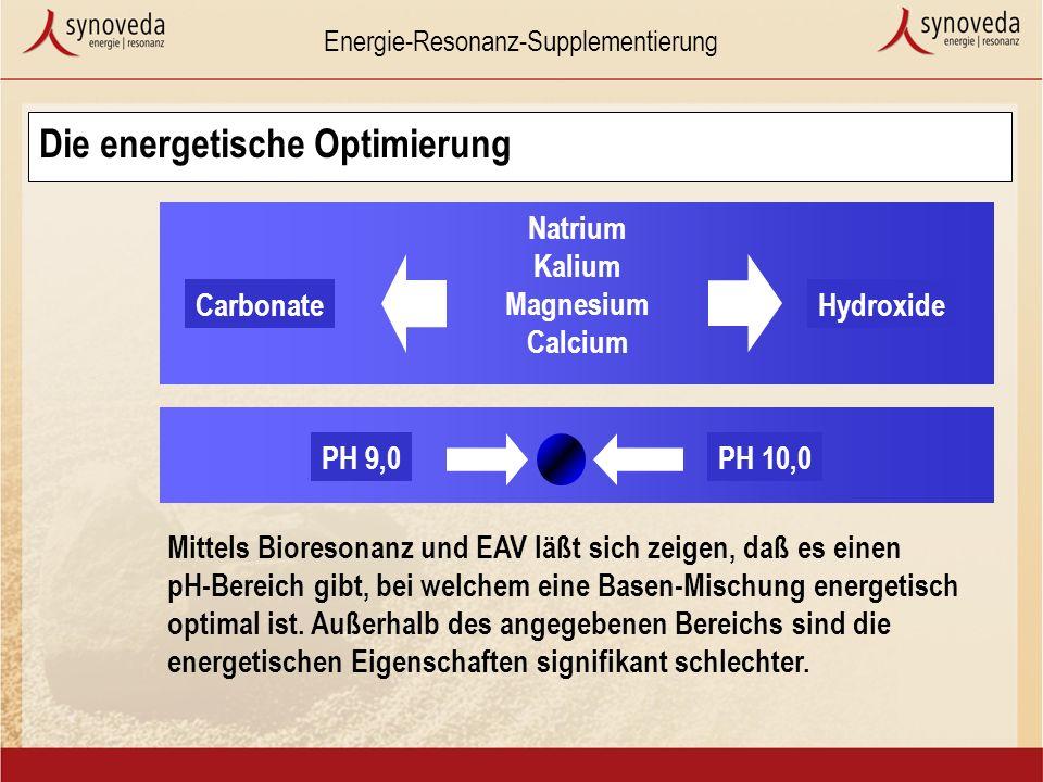 Energie-Resonanz-Supplementierung PH 10,0PH 9,0 Natrium Kalium Magnesium Calcium HydroxideCarbonate Die energetische Optimierung Mittels Bioresonanz und EAV läßt sich zeigen, daß es einen pH-Bereich gibt, bei welchem eine Basen-Mischung energetisch optimal ist.