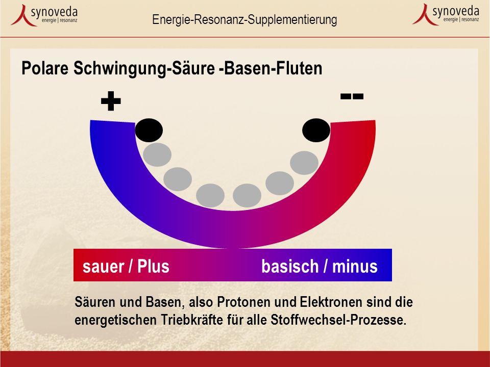 Energie-Resonanz-Supplementierung Polare Schwingung-Säure -Basen-Fluten Säuren und Basen, also Protonen und Elektronen sind die energetischen Triebkräfte für alle Stoffwechsel-Prozesse.
