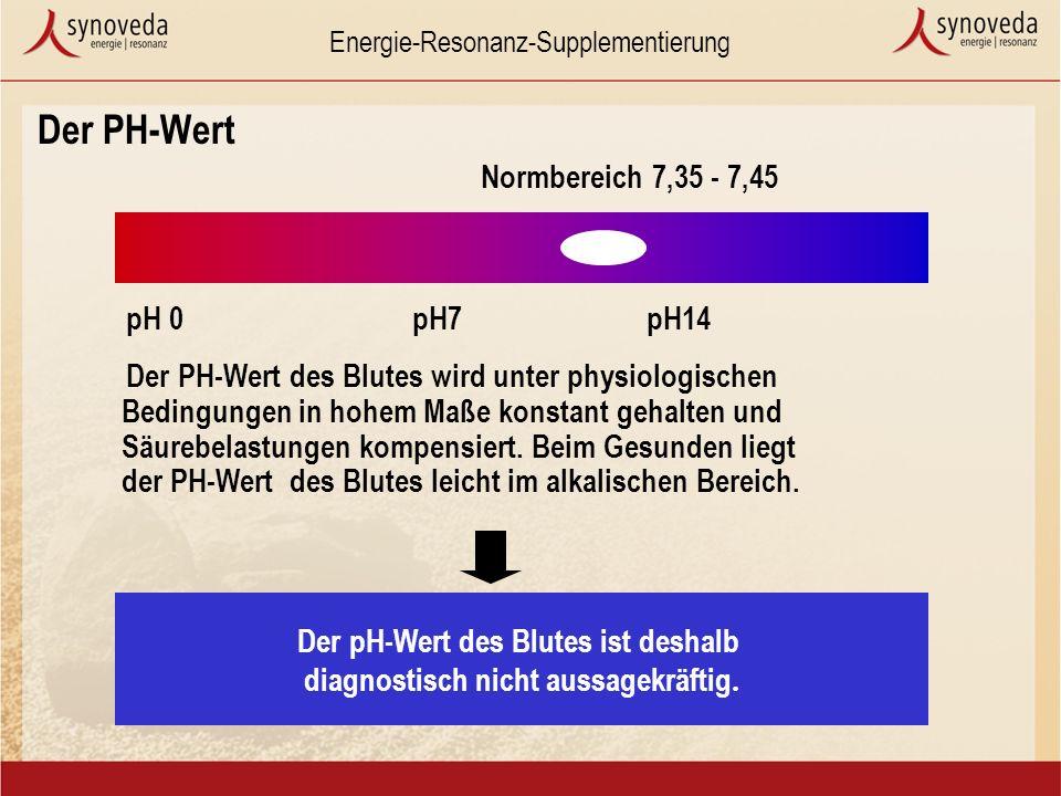 Energie-Resonanz-Supplementierung Der pH-Wert des Blutes ist deshalb diagnostisch nicht aussagekräftig.