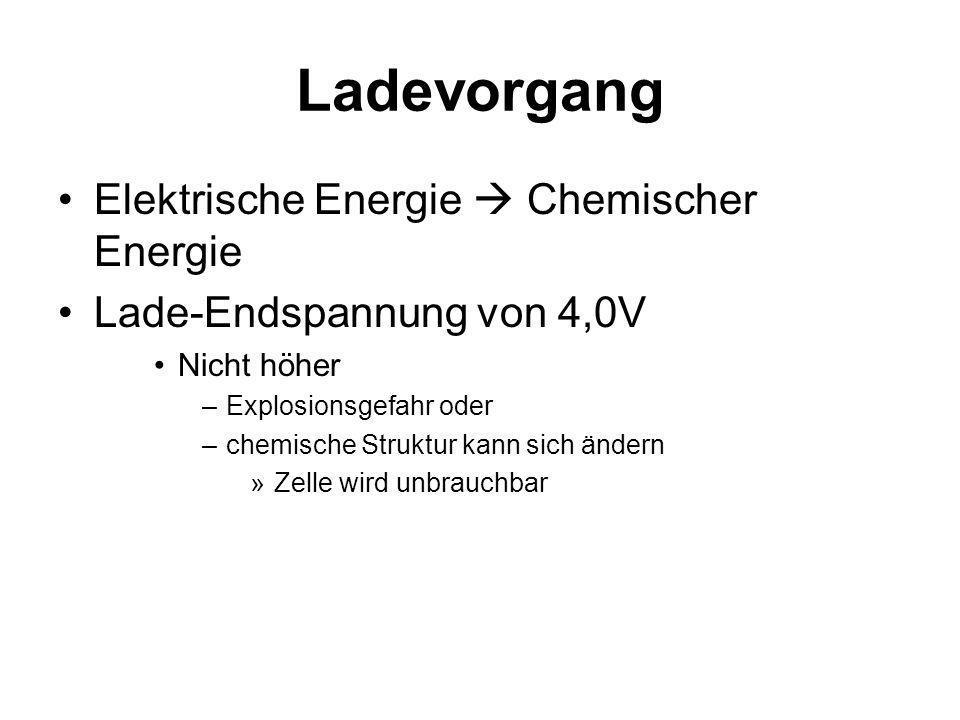 Chemische Energie Elektrischer Energie Nominalspannung von 3,6V Nie unter 2,6V entladen –chemische Struktur kann sich ändern »Zelle wird unbrauchbar Reaktionen: –Minuspol: –Pluspol: Endladevorgang