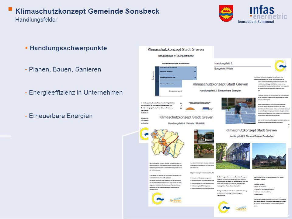 © infas enermetric GmbH Handlungsfelder Handlungsschwerpunkte - Planen, Bauen, Sanieren - Energieeffizienz in Unternehmen - Erneuerbare Energien Klimaschutzkonzept Gemeinde Sonsbeck