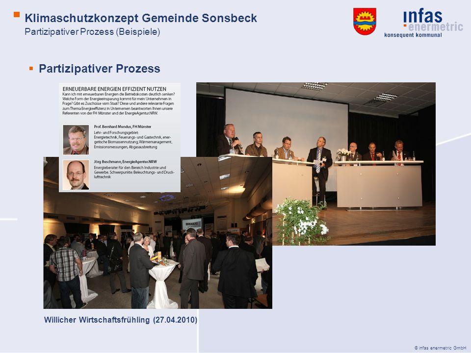 © infas enermetric GmbH Partizipativer Prozess Willicher Wirtschaftsfrühling (27.04.2010) Partizipativer Prozess (Beispiele) Klimaschutzkonzept Gemeinde Sonsbeck