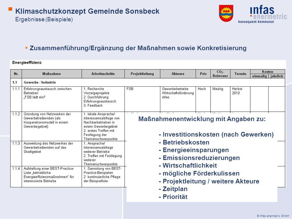 © infas enermetric GmbH Zusammenführung/Ergänzung der Maßnahmen sowie Konkretisierung Maßnahmenentwicklung mit Angaben zu: - Investitionskosten (nach