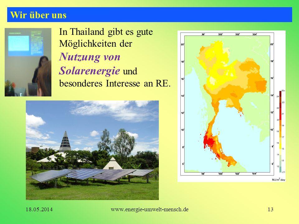 In Thailand gibt es gute Möglichkeiten der Nutzung von Solarenergie und besonderes Interesse an RE. Wir über uns 13www.energie-umwelt-mensch.de18.05.2
