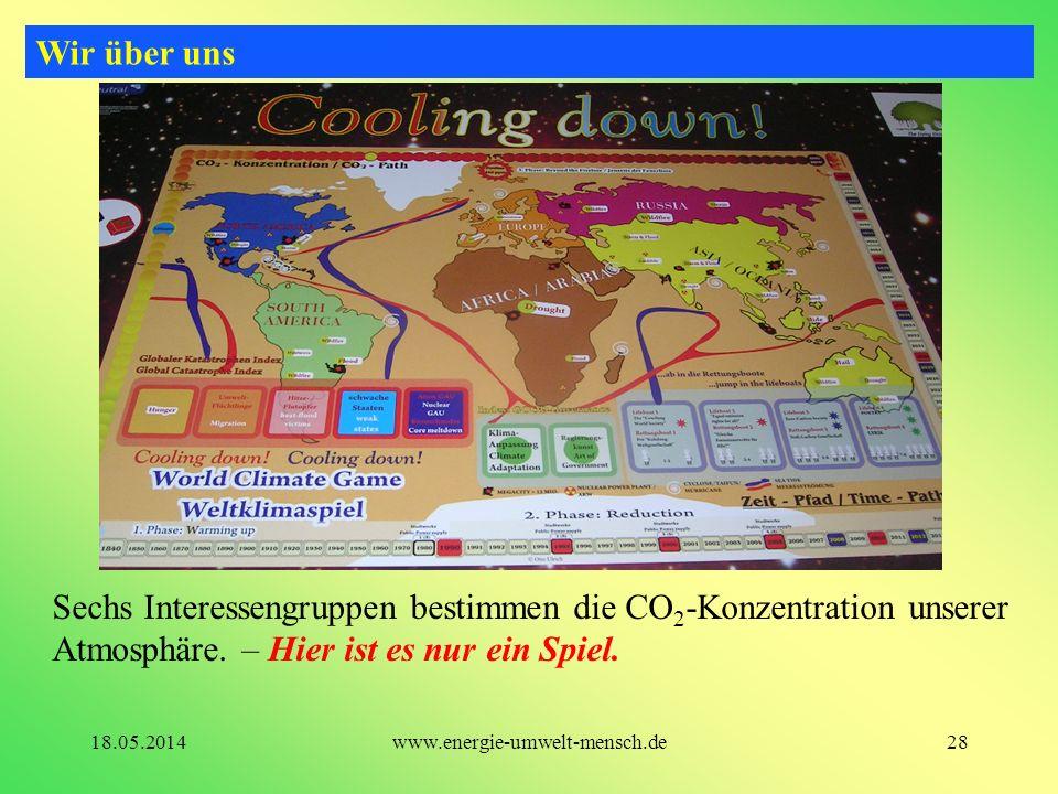 Sechs Interessengruppen bestimmen die CO 2 -Konzentration unserer Atmosphäre. – Hier ist es nur ein Spiel. Wir über uns 28www.energie-umwelt-mensch.de