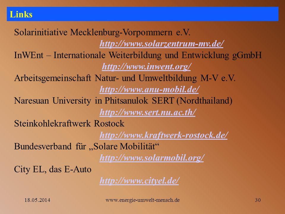 Solarinitiative Mecklenburg-Vorpommern e.V. http://www.solarzentrum-mv.de/ InWEnt – Internationale Weiterbildung und Entwicklung gGmbH http://www.inwe