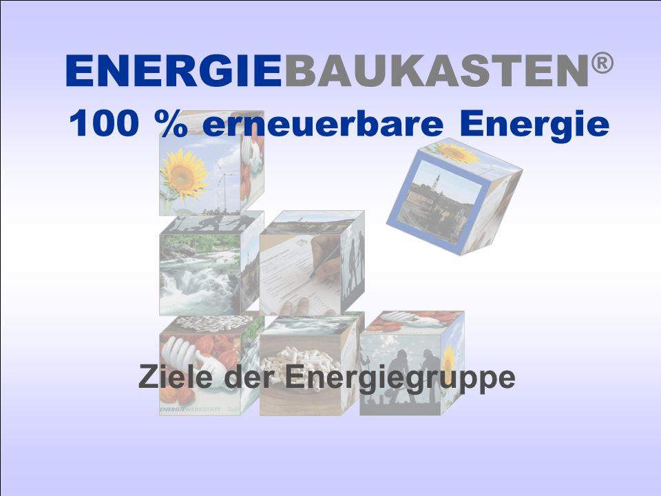 Ziele der Energiegruppe ENERGIEBAUKASTEN ® 100 % erneuerbare Energie
