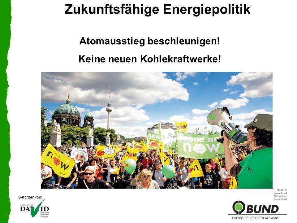 Zukunftsfähige Energiepolitik Treibhausgasemissionen bis 2020 um 40% senken Bis 2050 um 80% Sofortiges Abschalten aller AKW Mittelfristiger Ausstieg aus fossiler Stromerzeugung Echte Energiewende durch Reduktion des Endverbrauchs um 50% bis 2030 (Suffizienz + Effizienz) Restbedarf schnellstens durch erneuerbare Energien decken Gefördert von: