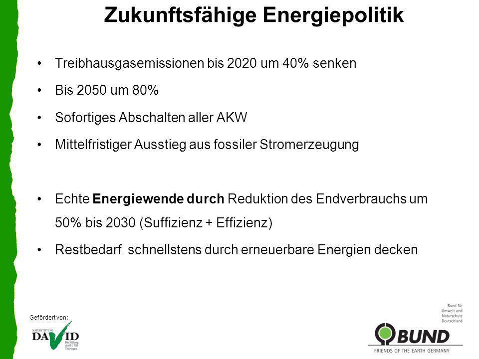 Zukunftsfähige Energiepolitik EE in Thüringen WärmeStrom 2010 2050 Gefördert von: