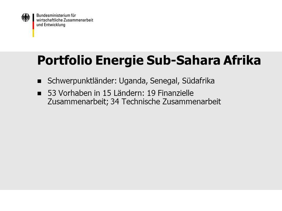 Portfolio Energie Sub-Sahara Afrika Schwerpunktländer: Uganda, Senegal, Südafrika 53 Vorhaben in 15 Ländern: 19 Finanzielle Zusammenarbeit; 34 Technische Zusammenarbeit