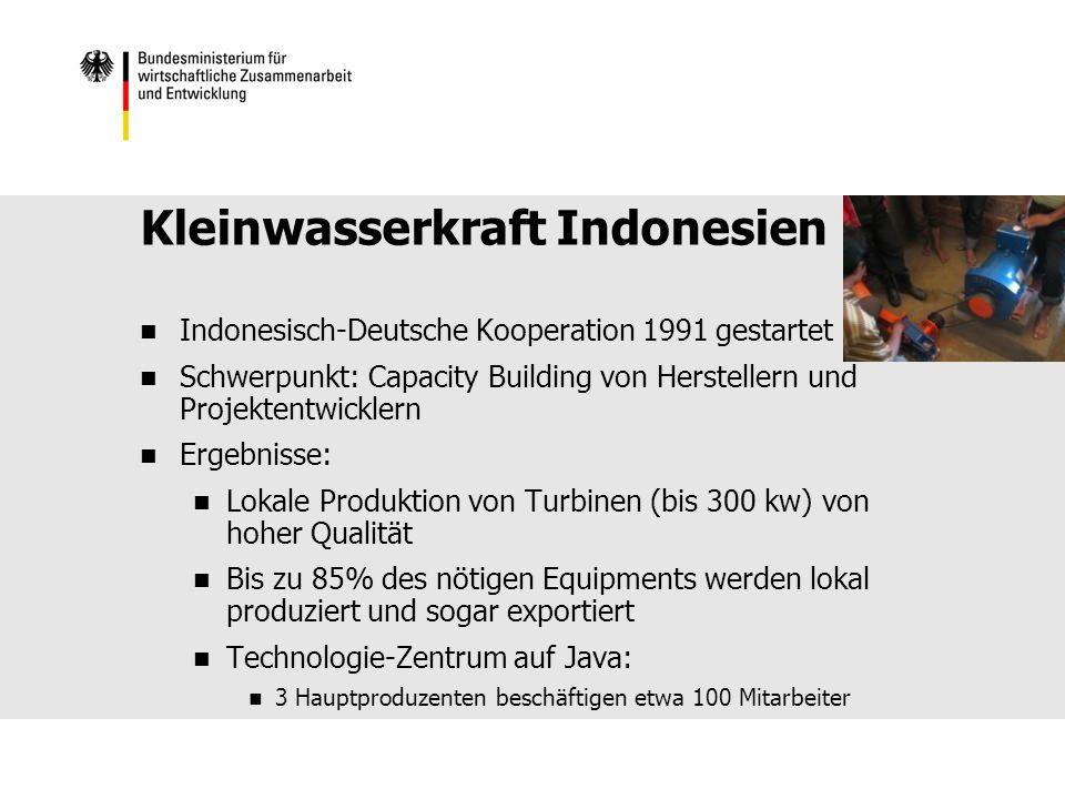 Kleinwasserkraft Indonesien Indonesisch-Deutsche Kooperation 1991 gestartet Schwerpunkt: Capacity Building von Herstellern und Projektentwicklern Ergebnisse: Lokale Produktion von Turbinen (bis 300 kw) von hoher Qualität Bis zu 85% des nötigen Equipments werden lokal produziert und sogar exportiert Technologie-Zentrum auf Java: 3 Hauptproduzenten beschäftigen etwa 100 Mitarbeiter