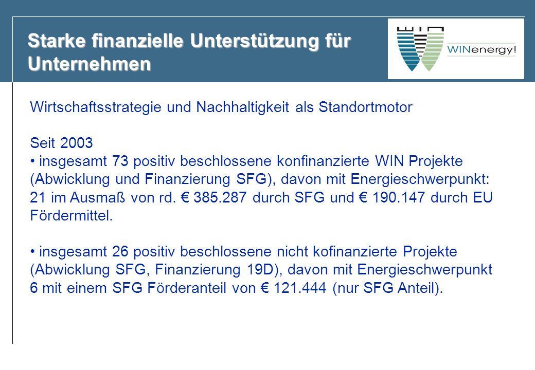 Starke finanzielle Unterstützung für Unternehmen Wirtschaftsstrategie und Nachhaltigkeit als Standortmotor Seit 2003 insgesamt 73 positiv beschlossene konfinanzierte WIN Projekte (Abwicklung und Finanzierung SFG), davon mit Energieschwerpunkt: 21 im Ausmaß von rd.
