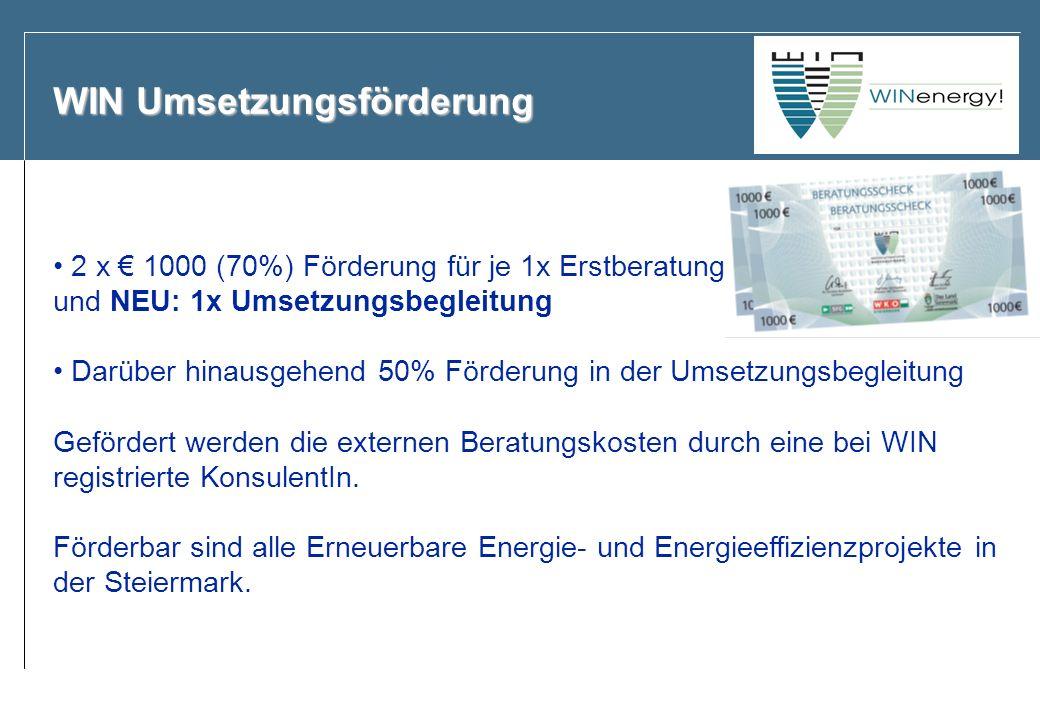 WIN Umsetzungsförderung 2 x 1000 (70%) Förderung für je 1x Erstberatung und NEU: 1x Umsetzungsbegleitung Darüber hinausgehend 50% Förderung in der Ums