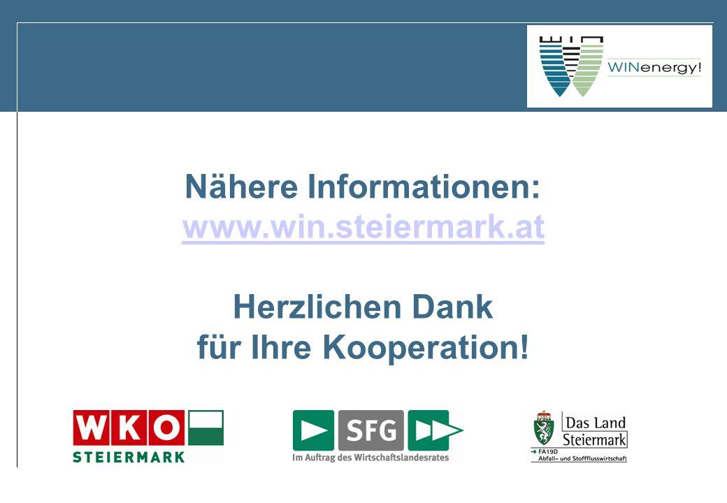 Nähere Informationen: www.win.steiermark.at Herzlichen Dank für Ihre Kooperation!