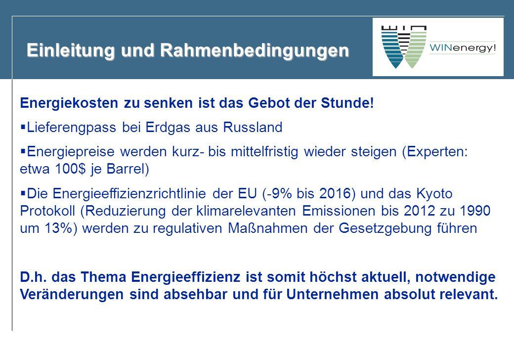 Einleitung und Rahmenbedingungen Energiekosten zu senken ist das Gebot der Stunde! Lieferengpass bei Erdgas aus Russland Energiepreise werden kurz- bi