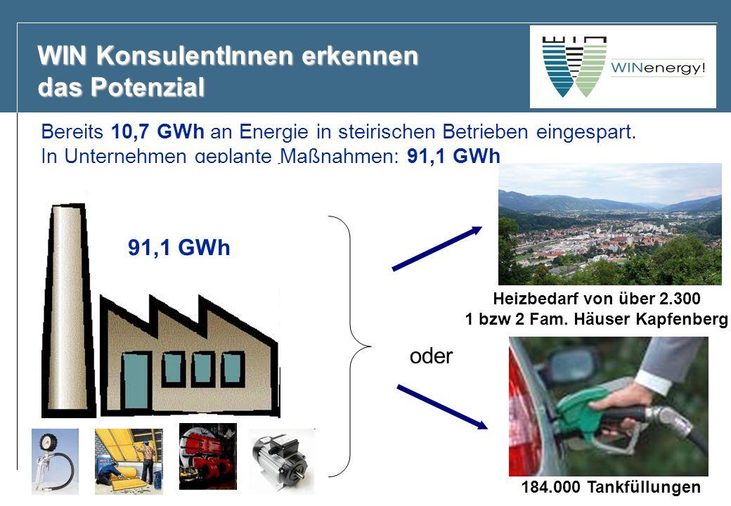 WIN KonsulentInnen erkennen das Potenzial Bereits 10,7 GWh an Energie in steirischen Betrieben eingespart. In Unternehmen geplante Maßnahmen: 91,1 GWh