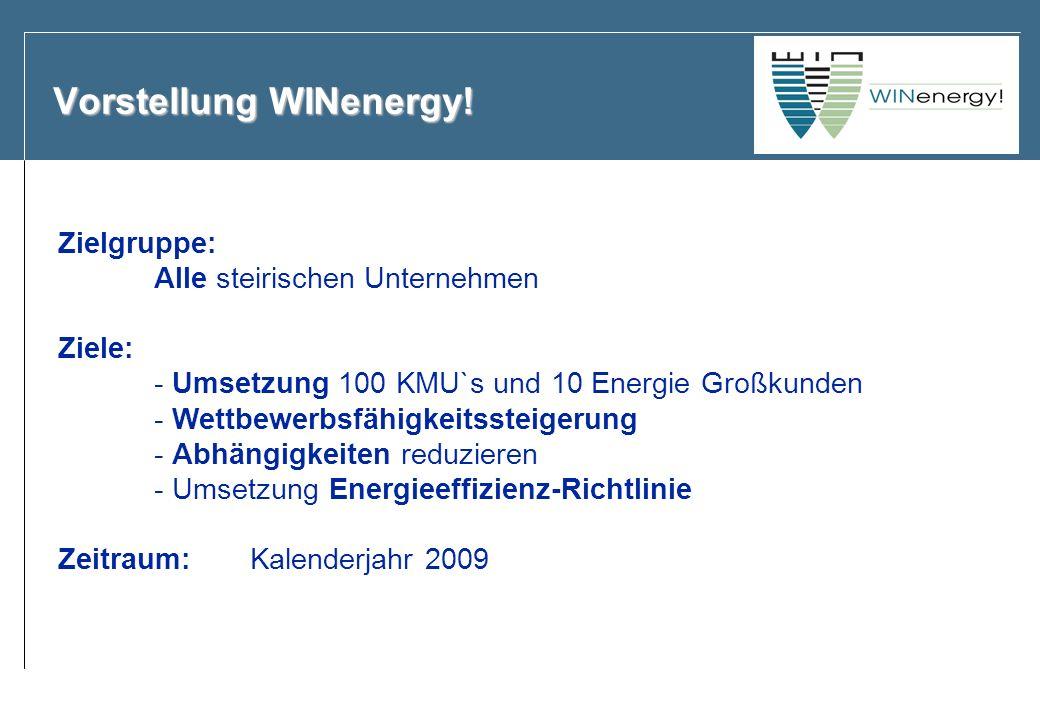 Vorstellung WINenergy! Zielgruppe: Alle steirischen Unternehmen Ziele: - Umsetzung 100 KMU`s und 10 Energie Großkunden - Wettbewerbsfähigkeitssteigeru