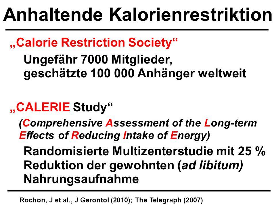 Calorie Restriction Society Ungefähr 7000 Mitglieder, geschätzte 100 000 Anhänger weltweit CALERIE Study (Comprehensive Assessment of the Long-term mE