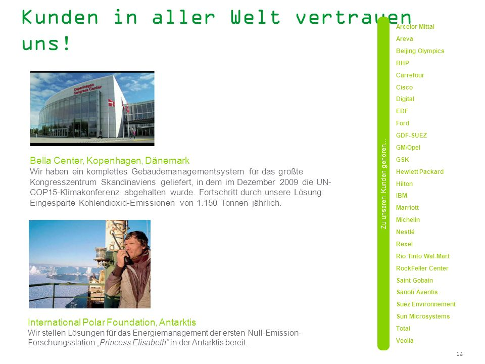 18 Kunden in aller Welt vertrauen uns! Bella Center, Kopenhagen, Dänemark Wir haben ein komplettes Gebäudemanagementsystem für das größte Kongresszent