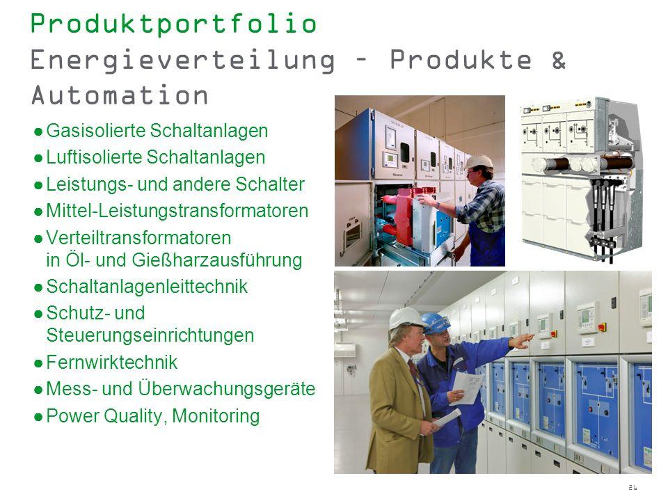 26 Produktportfolio Energieverteilung – Produkte & Automation Gasisolierte Schaltanlagen Luftisolierte Schaltanlagen Leistungs- und andere Schalter Mi
