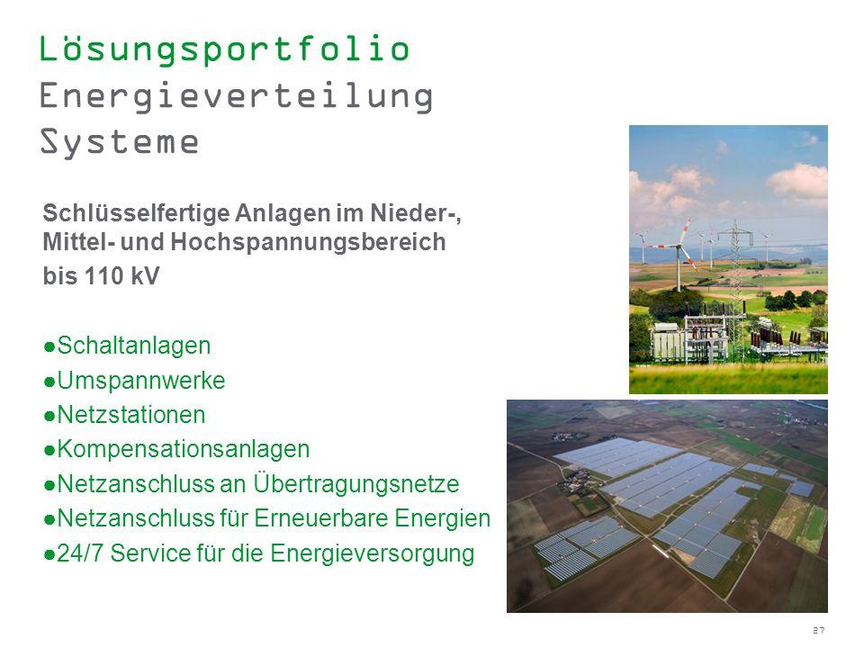 27 Lösungsportfolio Energieverteilung Systeme Schlüsselfertige Anlagen im Nieder-, Mittel- und Hochspannungsbereich bis 110 kV Schaltanlagen Umspannwe