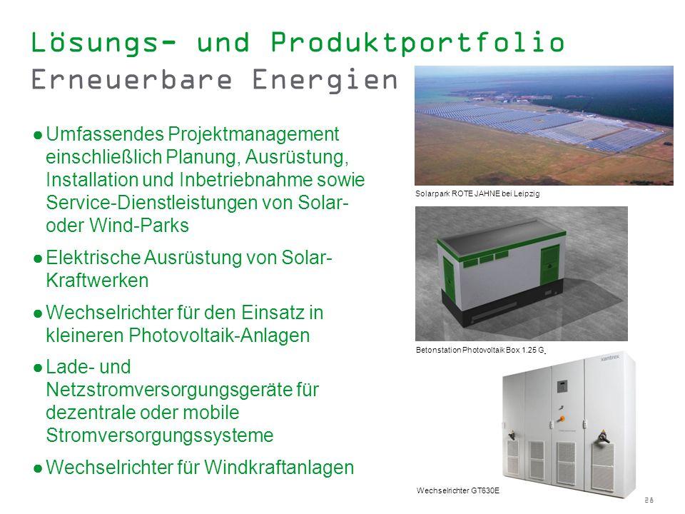 28 Lösungs- und Produktportfolio Erneuerbare Energien Umfassendes Projektmanagement einschließlich Planung, Ausrüstung, Installation und Inbetriebnahm