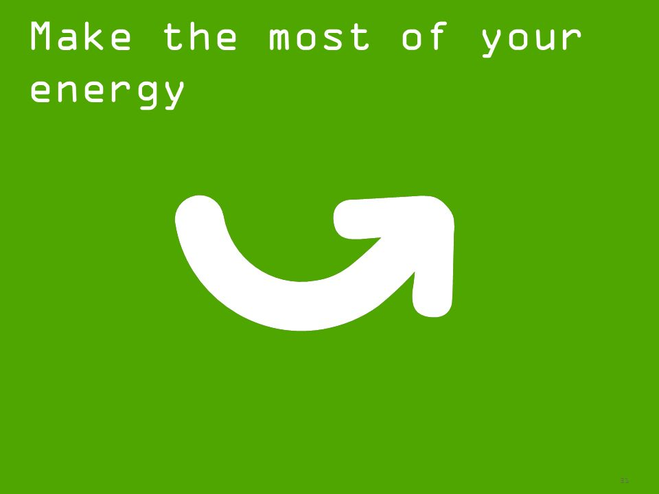 31 Make the most of your energy