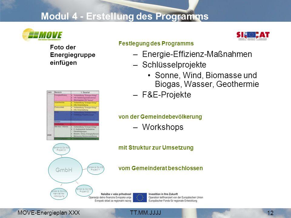MOVE-Energieplan XXXTT.MM.JJJJ 12 Modul 4 - Erstellung des Programms Festlegung des Programms –Energie-Effizienz-Maßnahmen –Schlüsselprojekte Sonne, Wind, Biomasse und Biogas, Wasser, Geothermie –F&E-Projekte von der Gemeindebevölkerung –Workshops mit Struktur zur Umsetzung vom Gemeinderat beschlossen GmbH GmbH & Co KG Projekt Z GmbH & Co KG Nahwärme- versorgung GmbH & Co KG Projekt X GmbH & Co KG Projekt Y Foto der Energiegruppe einfügen