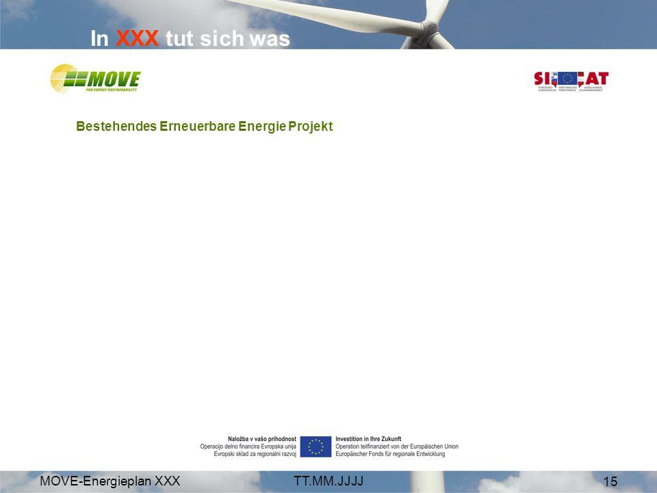 MOVE-Energieplan XXXTT.MM.JJJJ 15 In XXX tut sich was Bestehendes Erneuerbare Energie Projekt