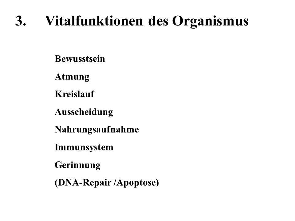 3.Vitalfunktionen des Organismus Bewusstsein(Med.) AtmungBeatmung / HLM / Tx KreislaufMed.
