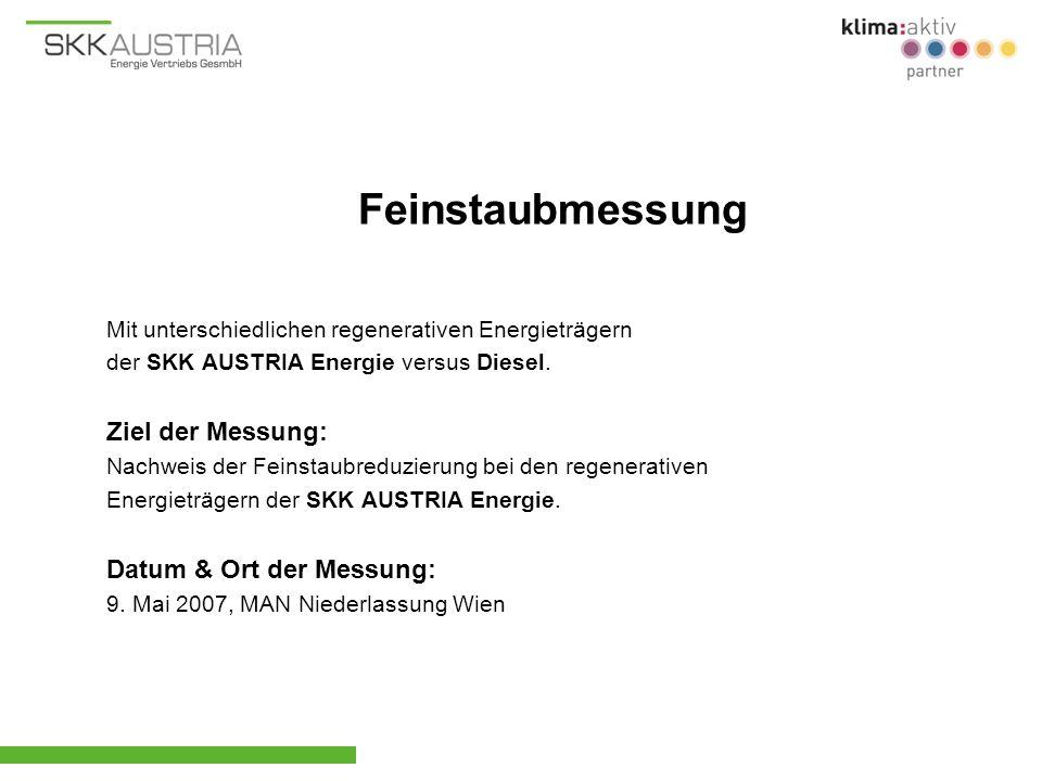 Mit unterschiedlichen regenerativen Energieträgern der SKK AUSTRIA Energie versus Diesel. Ziel der Messung: Nachweis der Feinstaubreduzierung bei den