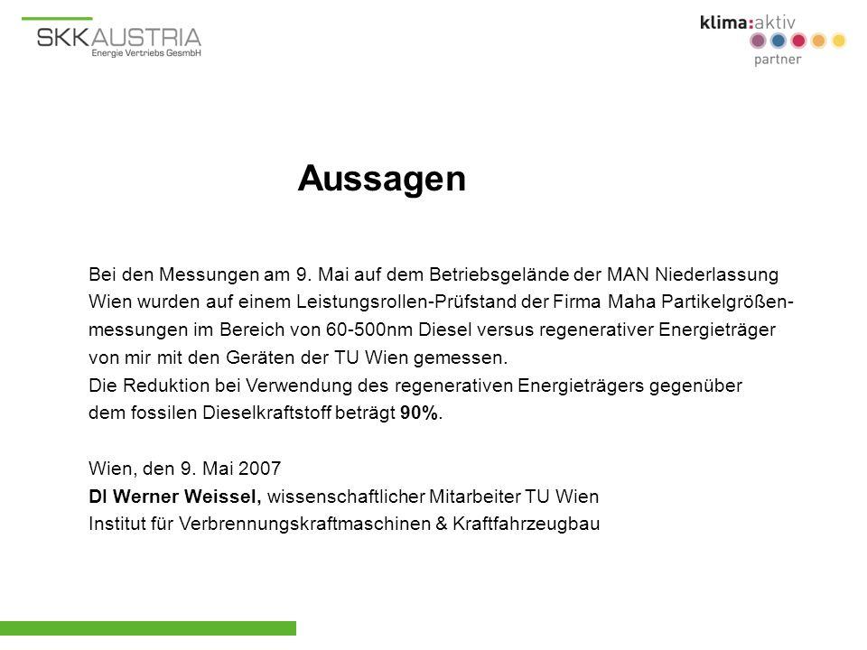 Bei den Messungen am 9. Mai auf dem Betriebsgelände der MAN Niederlassung Wien wurden auf einem Leistungsrollen-Prüfstand der Firma Maha Partikelgröße