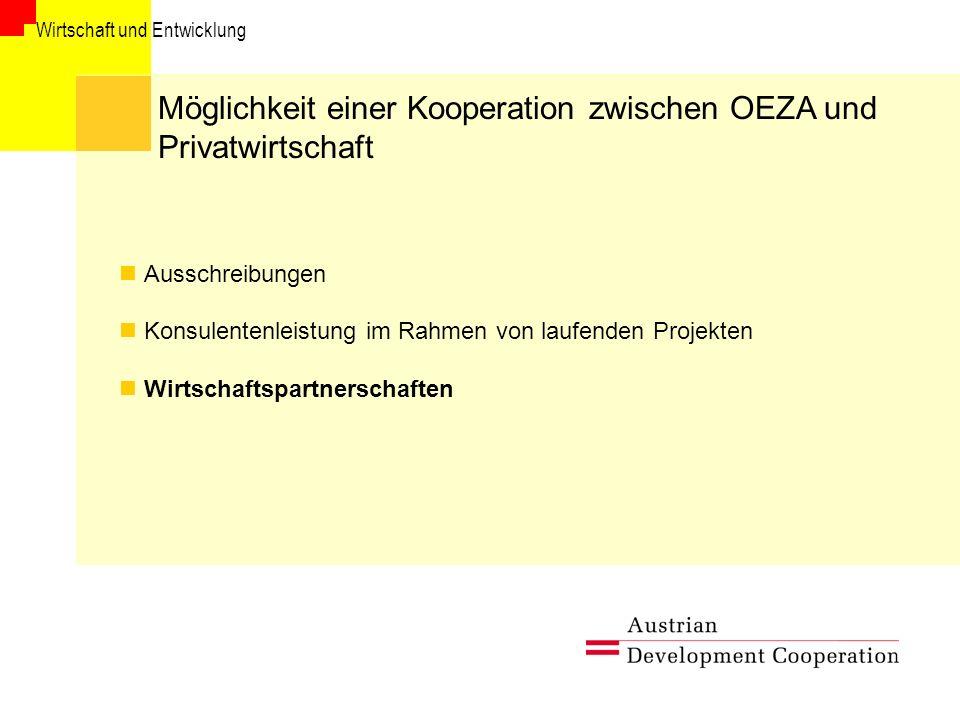 Wirtschaft und Entwicklung Möglichkeit einer Kooperation zwischen OEZA und Privatwirtschaft Ausschreibungen Konsulentenleistung im Rahmen von laufenden Projekten Wirtschaftspartnerschaften