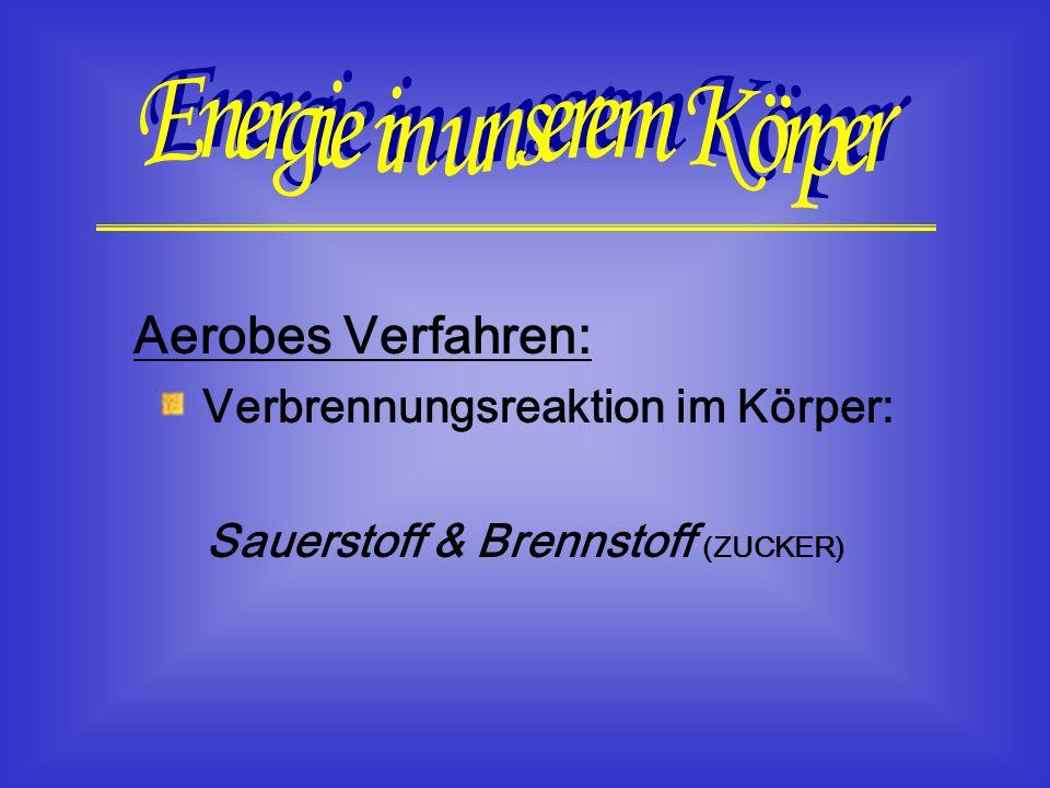 Aerobes Verfahren: Verbrennungsreaktion im Körper: Sauerstoff & Brennstoff (ZUCKER)