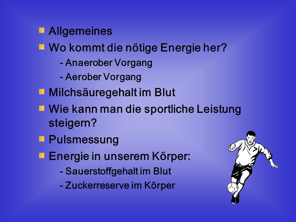 Allgemeines: Talent, Technik, Taktik, Ausdauer & Leistung Sportliche Leistung :- Ausdauer - » Sprint » 2 Arten Muskelfasern: - Rote Fasern - Weiße Fasern