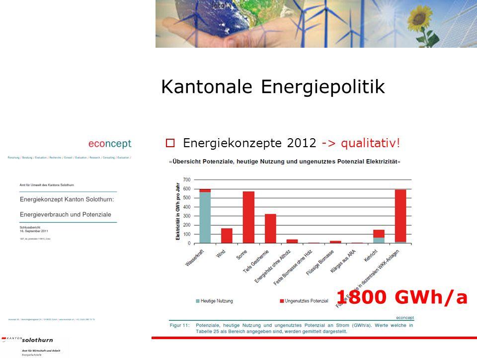 Kantonale Energiepolitik Energiekonzepte 2012 -> qualitativ! 1800 GWh/a