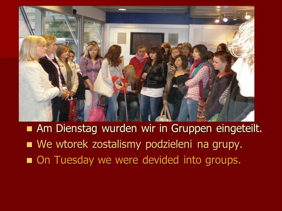 Am Dienstag wurden wir in Gruppen eingeteilt. Am Dienstag wurden wir in Gruppen eingeteilt.
