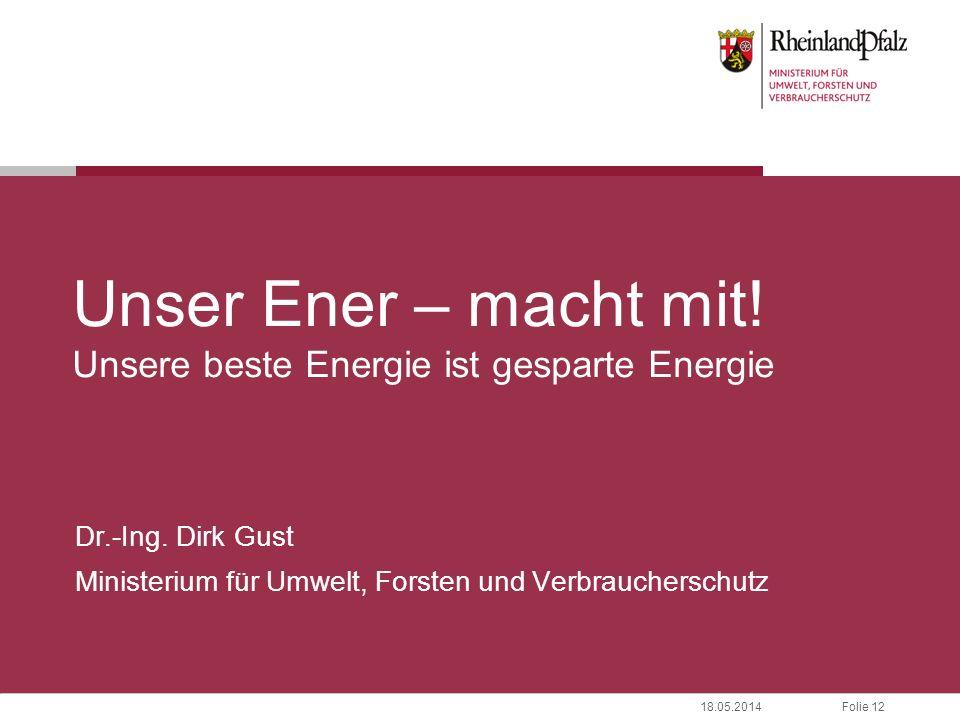 Folie 1218.05.2014 Unser Ener – macht mit. Unsere beste Energie ist gesparte Energie Dr.-Ing.