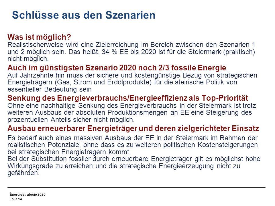 Ênergiestrategie 2020 Folie 14 Schlüsse aus den Szenarien Was ist möglich.