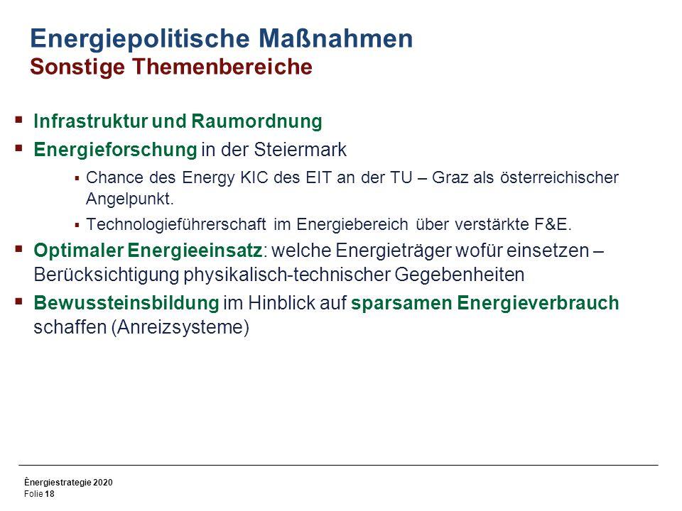 Ênergiestrategie 2020 Folie 18 Energiepolitische Maßnahmen Sonstige Themenbereiche Infrastruktur und Raumordnung Energieforschung in der Steiermark Chance des Energy KIC des EIT an der TU – Graz als österreichischer Angelpunkt.
