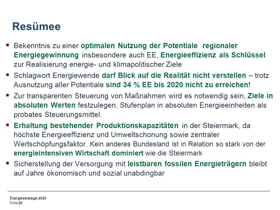 Ênergiestrategie 2020 Folie 20 Resümee Bekenntnis zu einer optimalen Nutzung der Potentiale regionaler Energiegewinnung insbesondere auch EE, Energieeffizienz als Schlüssel zur Realisierung energie- und klimapolitischer Ziele Schlagwort Energiewende darf Blick auf die Realität nicht verstellen – trotz Ausnutzung aller Potentiale sind 34 % EE bis 2020 nicht zu erreichen.