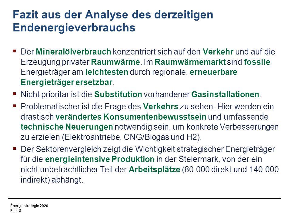 Ênergiestrategie 2020 Folie 9 Potenzialanalyse erneuerbarer Energieträger in der Steiermark 2005 und 2020 (bei Ausbau aller realistischen und dzt.