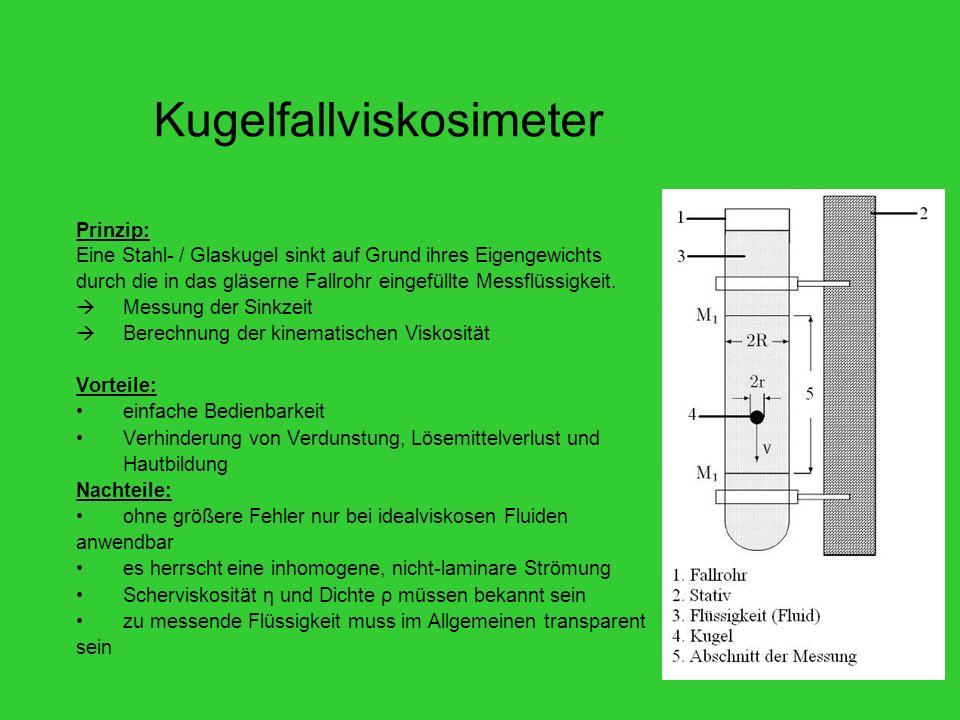 Kugelfallviskosimeter Prinzip: Eine Stahl- / Glaskugel sinkt auf Grund ihres Eigengewichts durch die in das gläserne Fallrohr eingefüllte Messflüssigkeit.
