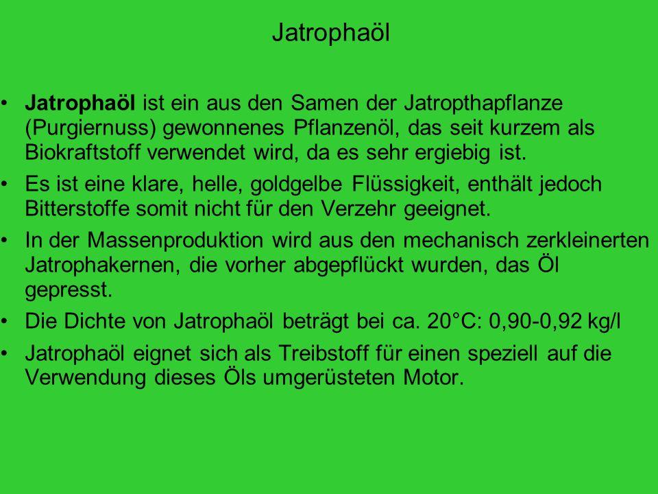 Jatrophaöl Jatrophaöl ist ein aus den Samen der Jatropthapflanze (Purgiernuss) gewonnenes Pflanzenöl, das seit kurzem als Biokraftstoff verwendet wird, da es sehr ergiebig ist.