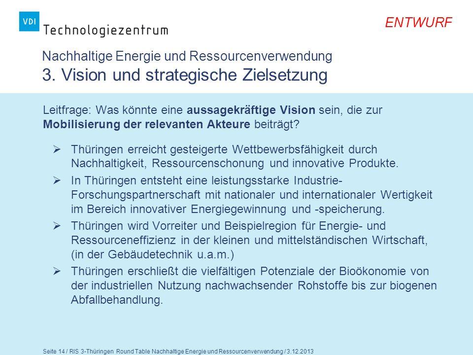 Seite 15 / RIS 3-Thüringen Round Table Nachhaltige Energie und Ressourcenverwendung / 3.12.2013 ENTWURF Nachhaltige Energie und Ressourcenverwendung 3.